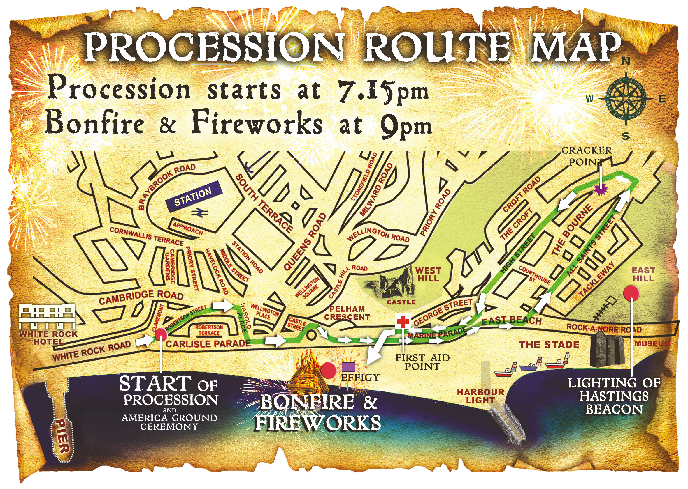 Route map for Hastings bonfire procession. Shows start point at white rock, going to the old town and back to pelham place