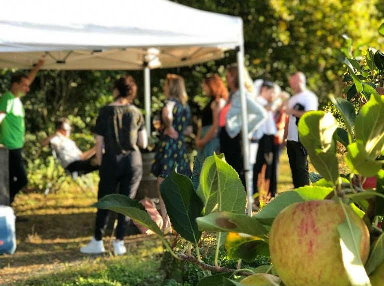 Customers drinking wine at a marquee on a summer's day, slightly out of focus with an apple tree in the foreground.