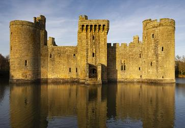 Bodiam Castle reflected in moat, East Sussex ©National Trust Images Chris Lacey