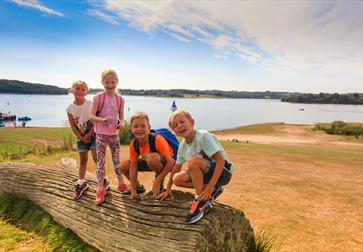 Children playing on a log at Bewl Water, Kent