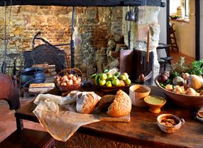 Table of food at Michelham Priory