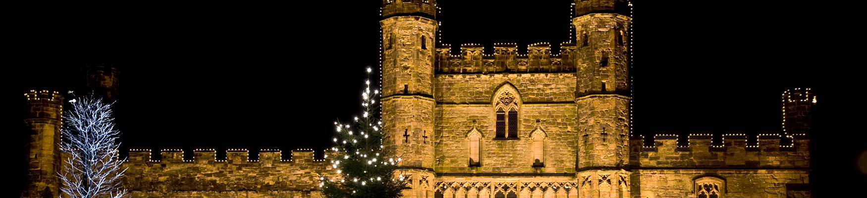 Battle Abbey gatehouse with Christmas tree