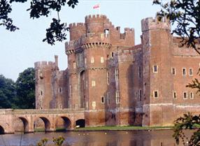 Herstmonceux castle with moat and bridge