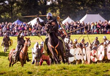 Re-enactment of the Battle of Hastings at Battle Abbey, East Sussex.
