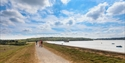 Walkers and cyclists at Bewl Water, Lamberhurst, Kent.