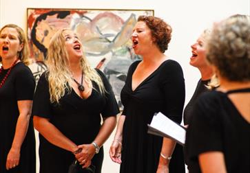 Choir singing at Free First Tuesday at the Hastings Contemporary art gallery.