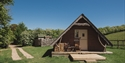 Wood and Penfold twin cabins at Swallowtail Hill glamping near Rye, East Sussex