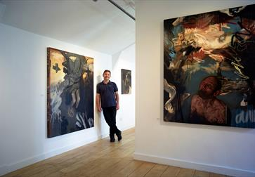 Curator Kenton Lowe at the BlackShed Gallery in Robertsbridge