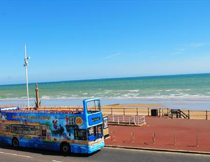 Hastings seafront open top bus